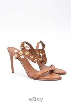 VALENTINO Gryphon Brown Gold Metal Coin Studded Leather Sandal Heels 9.5/39.5