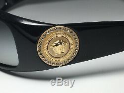 VERSACE 4044-B 870/8G 120 3N Swarovski Crystal Sunglasses Gold Medusa Coin Black