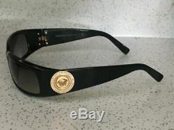 VERSACE 4044-B Sunglasses Black Gold Coin Swarovski Crystals Medusa Wrap Rare