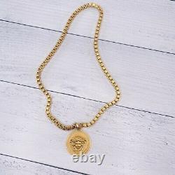 VERSACE Medusa gold Greca Medallion Coin Pendent Chain Necklace