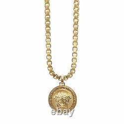 VERSACE Medusa gold Greca medallion coin pendent chunky chain rapper necklace