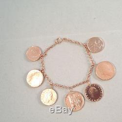 Vicenza Gold 7-1/4 Lire Coin Charm Bracelet, 14k (m262-01-15/m386-3-29)