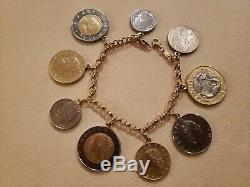 VINTAGE MILOR 14K Yellow Gold Charm Bracelet Italian 9 Coins 7.75