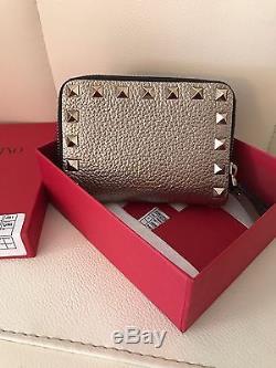Valentino Garavani Rockstud coin purse in metallic Stampa Alce calfskin