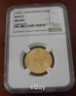 Vatican City 1933-1934 Gold 100 Lire NGC MS63+