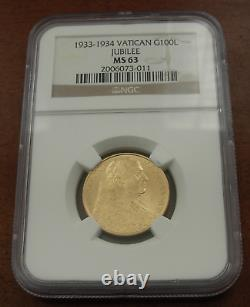 Vatican City 1933-1934 Gold 100 Lire NGC MS63 Jubilee