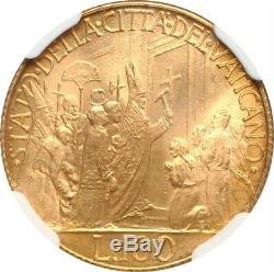 Vatican City 1950 100 Lire Gold Coin, Gem Uncirculated, Certified Ngc Ms-66