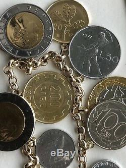 VicenzaGold Milor 14K Yellow Gold Italian Lire Coin Charm Bracelet NWOT Large 8