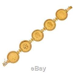 Vicenza Silver 18k Gold-plated Sterling Authentic Lire Coin 7-1/2 Bracelet Qvc