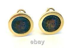 Vintage 14K Gold Roman Coin Designer Omega Back Earrings Classic Timeless