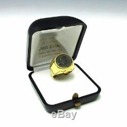 Vintage Estate 18K Yellow Gold Ancient ROMAN COIN Men's Signet Ring 12g Size 9.5