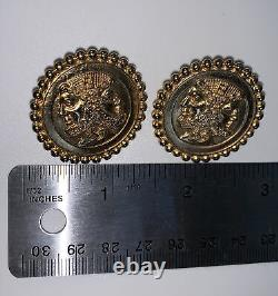Vintage Fendi Earrings Medallion Round Coin Shaped Italy FF