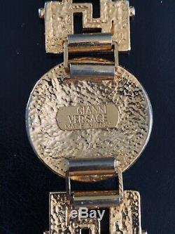 Vintage Gianni Versace Rhinestone Medusa Coin Bracelet