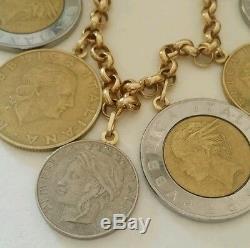 Vintage Milor 14k yellow gold lire italian coin rolo charm bracelet 7.5