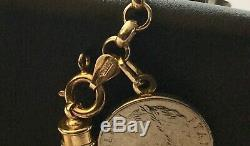 Vintage Milor Italy 14k GOLD CHARM BRACELET 9 Italian Coins 8.5