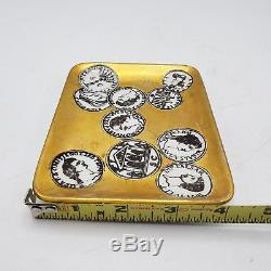 Vintage Piero Fornasetti Italy Gold Card Tray / Pin / Videpoche Coins 5