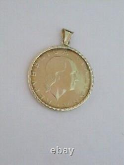 Vintage QVC Italian 200 Lire/Lira 1984 Coin Solid 14K Yellow Gold Bezel Pendant