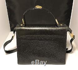 Vintage RARE Fendi Black Leather Gold Tone Horoscope Coin Cross Body Purse Bag