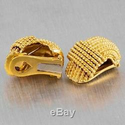 Vintage Roberto Coin 18k Solid Yellow Gold Rope Clip-On J-Hoop Earrings 13.2g