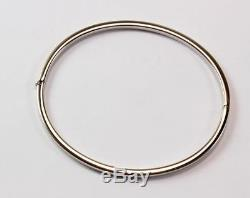 Vintage Roberto Coin 18k White Gold Hinged Oval Bangle Bracelet, 7.25 In Length