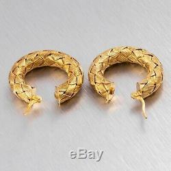Vintage Roberto Coin Gold Tone 925 Sterling Silver Silk Weave Hoop Earrings 7.1g