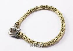 Vintage Roberto Coin Wheat Woven Braided 18k Yellow White Gold Sapphire Bracelet
