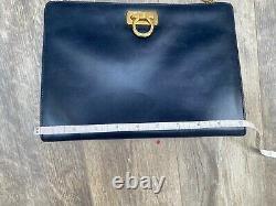 Vintage Salvatore Ferragamo Gancini Chain Shoulder Bag Navy Leather