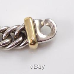 Vintage Sterling Silver 18K Gold Ancient Italy Coin Chain Necklace 16.5 LDF3