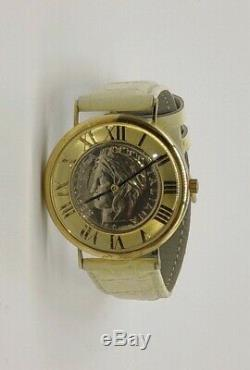 Vtg Vicence Italy 14k Gold Case Milor Repubblica Italiana Coin Watch LeatherBand
