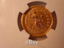 Western Roman Empire Valentinian II AD 375-392 Gold Solidus NGC XF, Ex Heritage