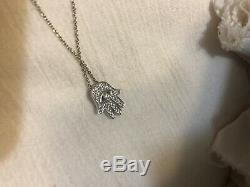 White Gold 18kt Tiny Treasures 0.18 ct Diamond HAMSA Necklace by Roberto Coin
